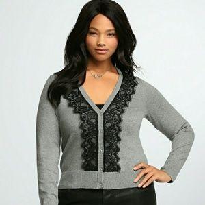 GUC Torrid gray cardigan w/ black lace, size 1